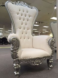 6 Ft. Tall Throne Chair French Baroque Wedding Bride Groom Throne Chairs High Back Chair Hotel Lounge Chair Bar Chair Throne Chair Furniture Victorian Style Chair (White & Silver) Victorian Collection