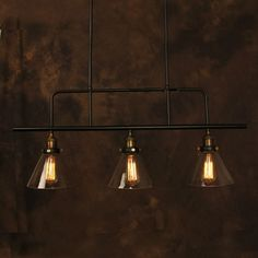 Vintage Pendant Light Industrial Edison Lamp American Style Clear Glass E27*3pcs RH Loft Coffee Bar Restaurant Kitchen Lights