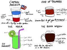 Here's a variety of Avengers-themed cocktail recipes.