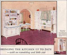1924 Hoosier Kitchen Cabinet Ad kitchens made from hoosier cabinets Vintage Room, Vintage Decor, Vintage Designs, Vintage Ads, Vintage Houses, Vintage Advertisements, Vintage World Maps, 1920s Kitchen, Vintage Kitchen