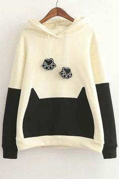 Trendy Color Block Cute Cat Ears Hooded Sweatshirt with Bow Back - Beautifulhalo.com