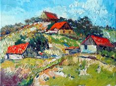 oil painting | Old Farm Houses on the Hill (Sunny day) | Ugallery Online Art Gallery