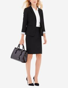 Black Collection Pencil Skirt & Two Button Jacket - The Limited Collection consistently uses the same shades and fabrics for all of our suiting pieces to encourage mixing and matching. Pair this jacket with our Collection skirts and pants to customize a suit that you love.