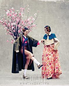 Fusion 한복 Hanbok / Traditional Korean dress / Dance of Spring, Vogue Korea May 2013 Korean Traditional Clothes, Traditional Fashion, Traditional Dresses, Korean Dress, Korean Outfits, Japan Fashion, Fashion Art, Fashion Design, Vogue Editorial