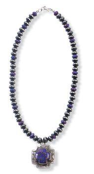 Purple Cross Pendant & Beads Necklace