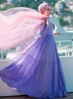 Pamuklu Elbise - Lila - Muslima Wear