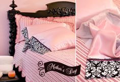 Mother's+Day:+Charmeuse+Satin+Pillowcases+with+Velvet+&+Lace+Trim
