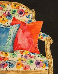 Kate Lewis, Big Half of a Poppy Chair, 2011 Graphite, Watercolor, Gouache and Gesso on Canvas