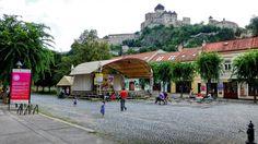 Trenčín city center with the castle above, Slovakia