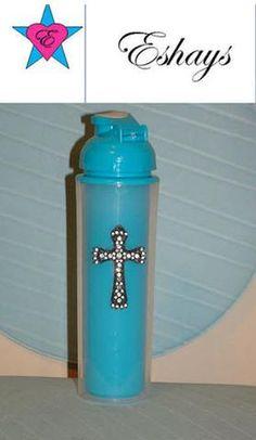 Custom Bling Rhinestone Cross Water Cup 16.2oz - Eshays, LLC | Eshays, LLC