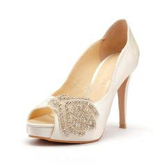 White Satin Wedding Heels with Rhinestones Ivory by ChristyNgShoes, $120.00