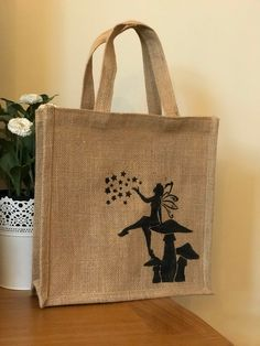 Fairy magic Jute bag * hand painted * Burlap Bags, Jute Bags, Jute Shopping Bags, Paint Designs, Sewing Ideas, Crochet Projects, Mosaic, Reusable Tote Bags, Hand Painted