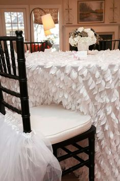Love these table and chairs at a Swan Lake ballet birthday party! See more party planning ideas at CatchMyParty.com!