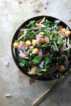 in-my-mouth:  Pasta with Shredded Kale, Garbanzo Beans, Lemon and Garlic