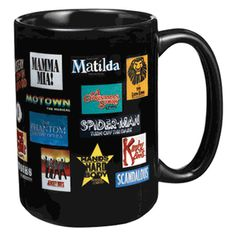 It won�t just be the caffeine that brings on a high when you drink out of this 15 oz. black coffee mug featuring more than 20 of your favorite Broadway musical logos. Hand-washing recommended. $15