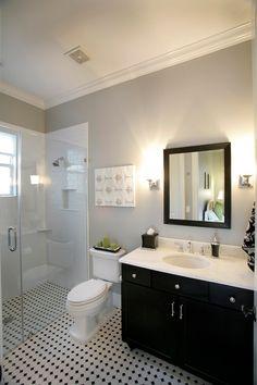 Grey And Black Bathroom Design Ideas, Pictures, Remodel, and Decor - page 6 Small Bathroom Redo, Bathroom Layout, Modern Bathroom, Downstairs Bathroom, Design Bathroom, Small Bathrooms, Bathroom Black, Simple Bathroom, Tile Design