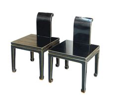 $695 2 x Black Lacquer Modern Contemporary Fusion Chair - Golden Lotus Antiques