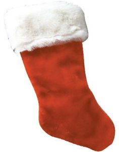 Brand new Fantastic value Christmas Santa Claus Plush Fur-Trimmed Stocking Great accessory for any Adult's or Child Christmas Santa Claus costume This posting includes: Deluxe plush red velvety Christmas stocking with white fur trim as featured