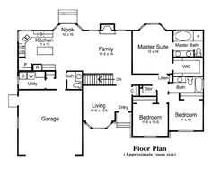 First Floor Plan of Traditional   House Plan 44808