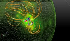 Scientists created this model to examine the magnetic field before a giant solar eruption.