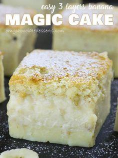 Big piece of Easy Banana Magic Cake with three custard layers.