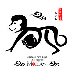 Chinese 2016 new year with monkey year creative vector 02