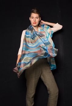 Rustic Stripes Hand Painted Silk Scarf/ Handpainted by klaradar