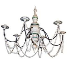 Painted Wood & Wrought Iron 6-Arm Chandelier