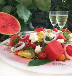 Watermelon Salad with Feta Cheese and Pickled Onions – MEZE THEORY