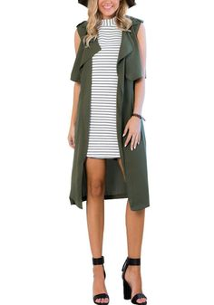 This army green sleeveless trench coat is styled with gorgeous draped lapels, a breezy open front and stylish inseam pockets on the side. | Lookbook Store