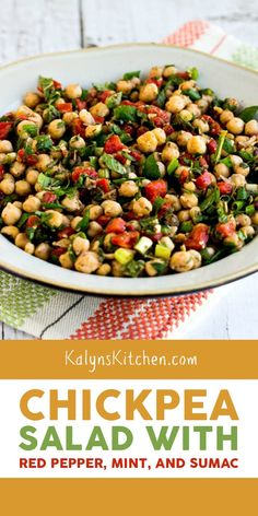 Chickpea Salad with Red Pepper, Mint, and Sumac is so delicious; if you haven't tried Sumac, get some soon and make this tasty salad that's vegan and gluten-free! Best Salad Recipes, Salad Dressing Recipes, Veggie Recipes, Diet Recipes, Healthy Recipes, Meatless Recipes, Veggie Meals, Pasta Salad, Tuna Pasta