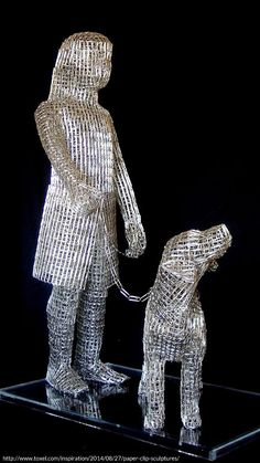 Thousands of interconnected paper clips form the shapes of humans and animals. Boring office supplies transformed into original works of art.  #humans  #animals