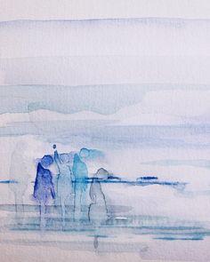 Je rêve de voir la mer.  #artwork #painting #watercolor #minimal #laviedodette by zesthetic