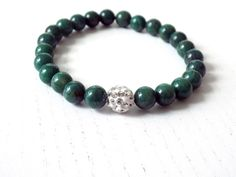Bracelet with Green African Jade round gemstones and white Shamballa bead by DharmaArtDesign on Etsy