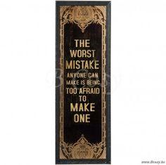 J-Line Zwart gouden houten Plakkaat The worst mistake in zwart-goud hout 125