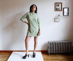 Mint Green Mod Mini Dress Long Sleeve Micro Dress 1960s 1970s Dress Bat Sleeve Size S/M by almostALWAYSvintage on Etsy