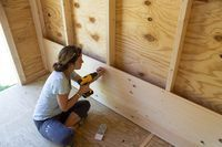 Shiplap boards slot right on top of each other, so it's pretty quick to install. The shiplap walls of this cozy she shed give it a wonderful, rustic beachy look. We show you how the shiplap was installed and painted. Shed Makeover, Stair Makeover, Shiplap Boards, Shiplap Siding, Tyni House, Installing Shiplap, Craft Shed, Shed Interior, Interior Design