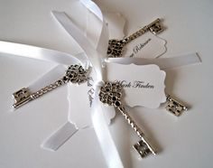Personalized Vintage Wedding Escort Cards Silver Skeleton Key Place Cards/Name Cards - Alice in Wonderland  x 100 on Etsy, $200.00