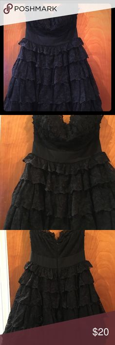 Strapless black lace cocktail dress (Med) One of my favorite dresses I bought for a holiday party from my favorite boutique Smak Parlour here in Philly. It was worn one night only as I was on crutches from an accident at said holiday party. It's fit and flare style, with a padded bust. There is a soft lining so the tule and lace won't irritate or bother your skin. It's coming from a smoke and pet free home, if you have any questions or concerns please feel free to contact me. Thanks for 👀…