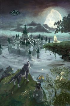 Howling Stone, wolf Link, Midna, and the Hero's Shade wolf - The Legend of Zelda: Twilight Princess; fan art
