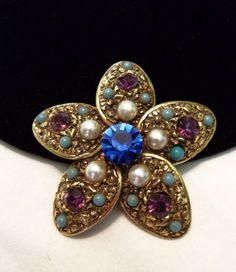 FLORENZA Vintage 50s Turquoise Pearl Rhinestone Glass Gold Plate Brooch Pin #Florenza #Vintage