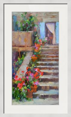 """Meet the Day"" by Dreama Tolle Perry, Paris // Flower laden steps in the summery countryside of France! // Imagekind.com -- Buy stunning fine art prints, framed prints and canvas prints directly from independent working artists and photographers."