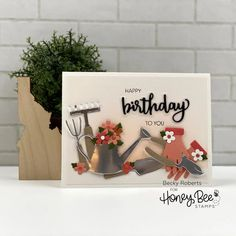 Paper Craft Supplies, Paper Crafts, Set Honey, Little Bit Of Love, Honey Bee Stamps, Bee Cards, Shaped Cards, Lets Celebrate, Garden Tools