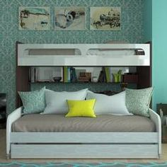 Brayden Studio Gautreau Twin L-Shaped Bunk Bed with Trundle, Bookcase and Drawers | Wayfair