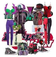 """""""Harley Quinn and The Joker"""" by dallymdescaper on Polyvore featuring DC Shoes, Converse and Versace Jeans Couture"""