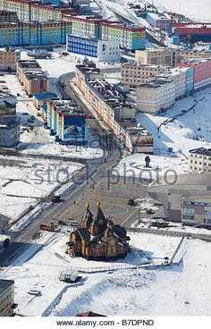 Aerial of Church in Anadyr Chukotka,  Siberia Russia - Stockbild