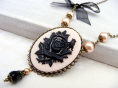 Black Friday/Cyber Monday Sale Whimsical Cameo Necklace, Rose Necklace, Pearl Necklace,powder dusty pink, bow shabby chic antique vintage