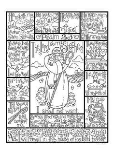 Psalm 23 coloring page / Three sizes included: 8.5X11, 8X10, 6X8  Perfect for Sunday School age children or adults, this coloring page depicts the entire 23rd Psalm.  In this collection, you will receive 3 pages in one pdf file. Included are three sizes: 8.5X11 for use as a traditional coloring page, 8X10 suitable for framing, and 6X8 to be used as a tip-in for Bible Journaling. The watermark on the listing will not appear on your downloaded files. **Please note--This is a digital item for…