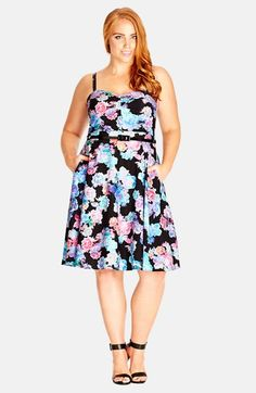 5f8d4b504e0 City Chic  Water Floral  Print Belted Sundress (Plus Size) available at