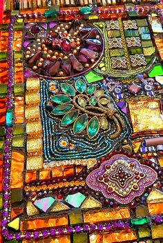 #Boho #Gypsy # Decor #Detail of Tapestry Mosaic by Doreen Bell Mosaic